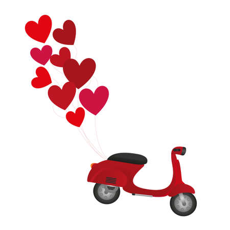 moped: red motorbike with red balloons isolated over white background. vector