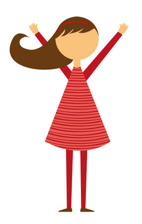 teenage girl dress: child girl with red dress isolated over white background. vector Illustration