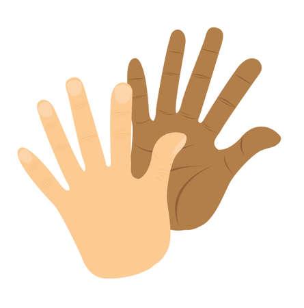 isoler: Salut cinq mains isol�s sur fond blanc. vecteur
