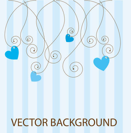 blue flower: blue cute abstract background with hearts. vector