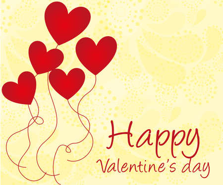 st  valentines day: happy valentines day with balloons of hears over ornaments background. vector