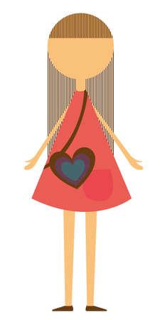 enfant fille avec une robe rose et sac de coeur isolé sur fond blanc. vectoriel