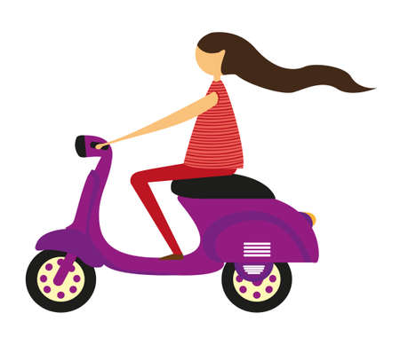cycle race: girl over motorbike isolated over white background. vector Illustration