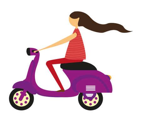 motor race: meisje over motor geà ¯ soleerd op witte achtergrond. vector Stock Illustratie