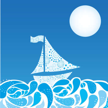 abstract sea and boat over sky night background. vector Stock Vector - 10768660