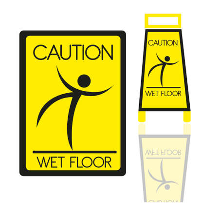 janitorial: wet floor sign isolated over white background. vector