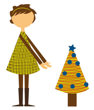 girl with small christmas tree isolated over white background. vector Stock Vector - 10768434