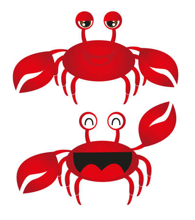 crab cartoon: red crab cartoon smiling and relaxed isolated. vector