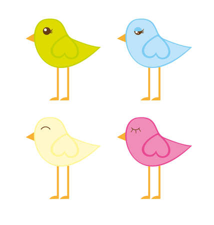 cute birds isolated over white background. vector Stock Vector - 10768212