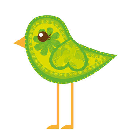 pájaro lindo verde con adornos aisladas sobre fondo blanco. Vector