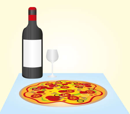 wine and dine: pizza and wine bottle and cup over blue table background. vector