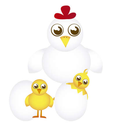 hen and chicken cartoon with eggs isolated. vector Vector