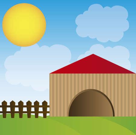 granero: Coop con dibujos animados valla sobre fondo de cielo. Vector
