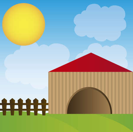 coop  with fence cartoon over sky background. vector Vector