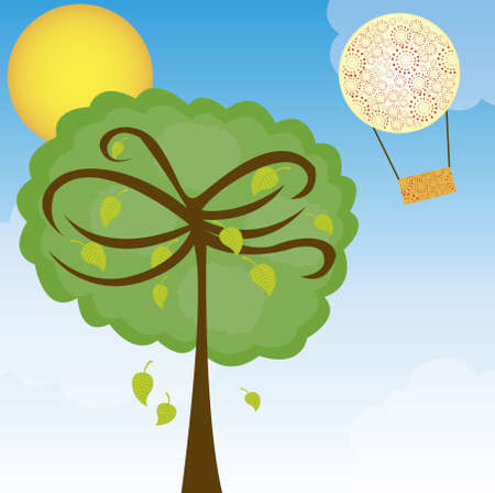 landscape with tree and air balloons over sky background. vector Vector