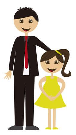 pere et fille: bande dessin�e p�re et la fille isol� sur fond blanc. vecteur
