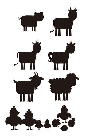 Farm animal silhouette isolated over white background. vector