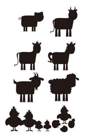 animal leg: Silueta animal de granja aislada sobre fondo blanco. Vector