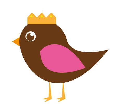 birdie: marrone e rosa uccello carino isolato su sfondo bianco. vettore Vettoriali