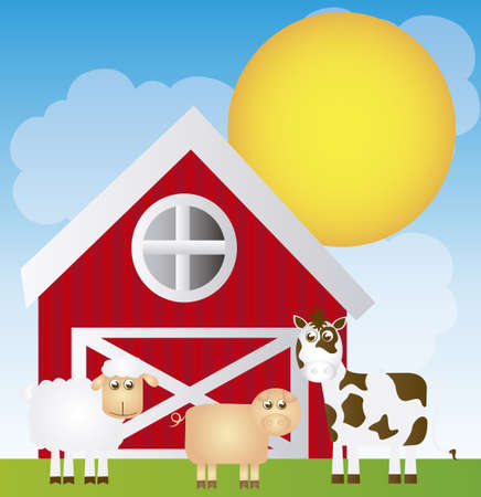 fine weather: cute farm cartoon with animals over landscape background. vector