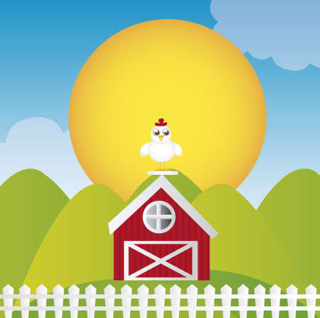 farm cartoon with chicken on house over landscape background. vector