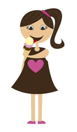 girl with ice cream isolated over white background. vector Vector