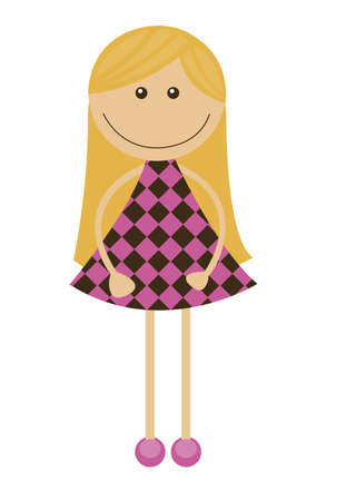 pink dress: girl cartoon isolated over white background. vector