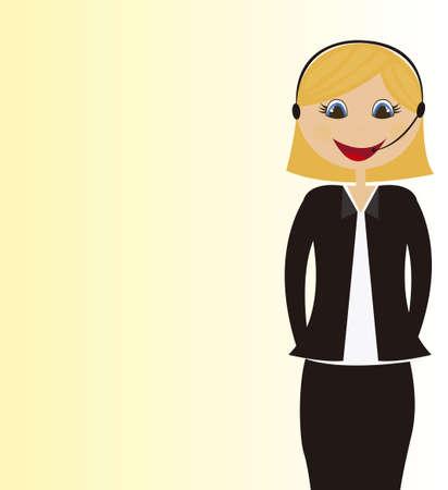 headset business: cartone animato centralinista su sfondo giallo. vettore