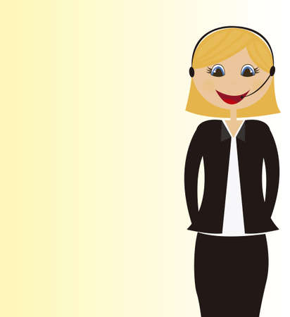 face with headset: receptionist cartoon over yellow background. vector