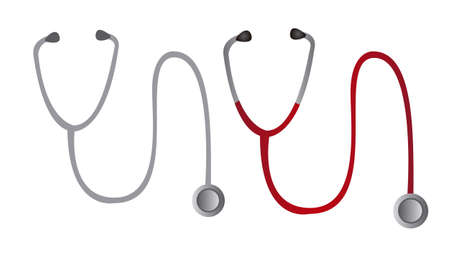 diagnostic medical tool: stethoscope cartoon isolated over white background. vector