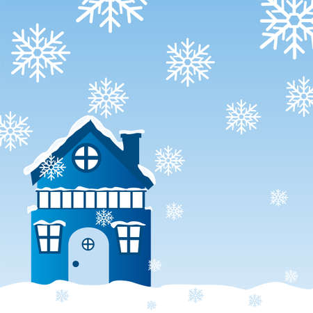 winter landscape with blue house and snowflakes background. vector Vector