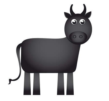 funny ox: bull cartoon isolated over white background. vector