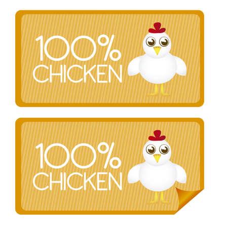 100 balises de poulet pour cent et stickes avec la bande dessinée de poulet. vecteur