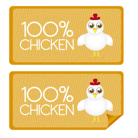 hot chick: 100 percent chicken tags and stickes with chicken cartoon. vector