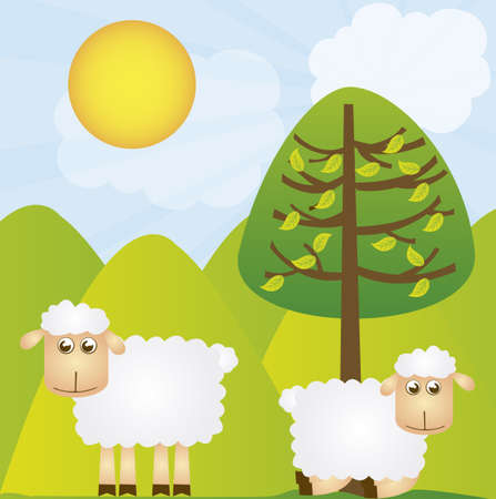 country life: vector sheeps with tree over green landscape background