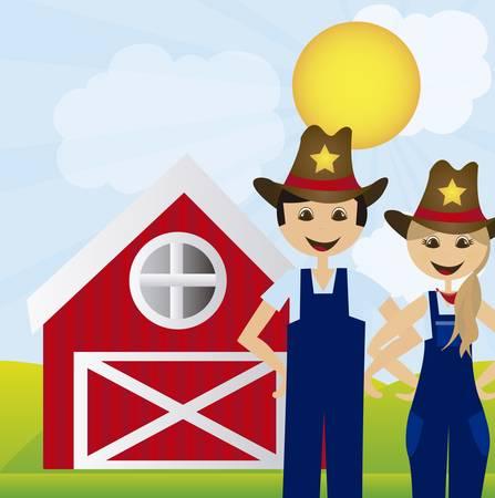 bála: nő és férfi gazdáknak táj farm háttérben. vektor Illusztráció