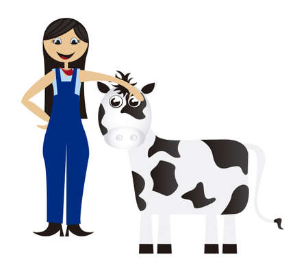 overall: women cartoon farmer with cow isolated background. vector Illustration