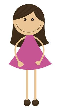 ni�a de dibujos animados con vestido rosa aislados. vector Foto de archivo - 10768203