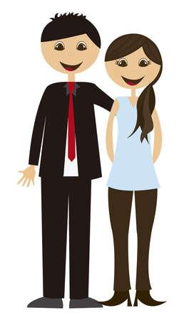 marido y mujer: caricatura de maridos aislada sobre fondo blanco. Vector