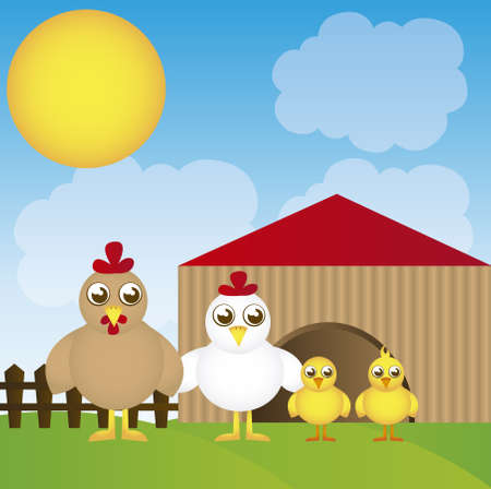 coop cartoon with chicken over landscape background. vector Stock Vector - 10768636