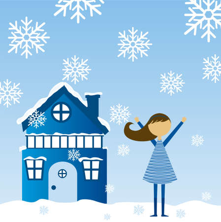winter landscape with child girl and house background. vector Vector