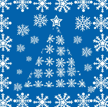 snowflakes tree isolated over blue background. vector Stock Vector - 10768657