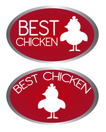 red best chicken tags isolated over white background. vector Vector