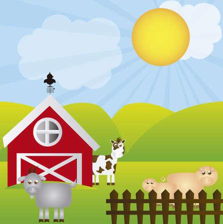 boerderij cartoon met dieren over het landschap achtergrond. vector