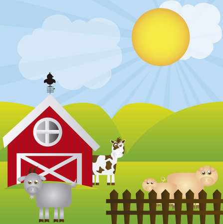 shed: farm cartoon with animals over landscape background. vector Illustration