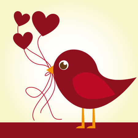 heart with crown: red love bird with heart balloons over beige background. vector