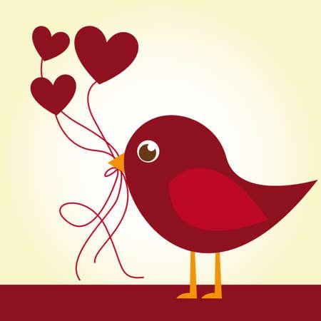 heart and crown: rosso uccello amore con palloncini cuore su sfondo beige. vettore Vettoriali