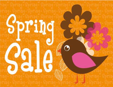 Frühjahr Verkauf von Blumen und niedlichen Vogel über orange. Vektor