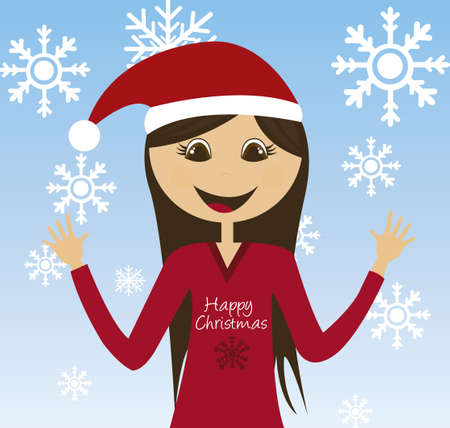 girl christmas with christmas hat over sky background. vector Stock Vector - 10768611