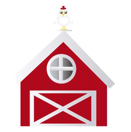 granero: Casa de labranza con gallina aislada sobre fondo blanco. Vector